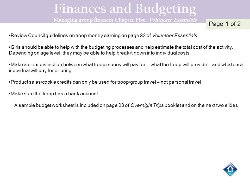 Finances and Budgeting Managing group finances Chapter Five, Volunteer Essentials