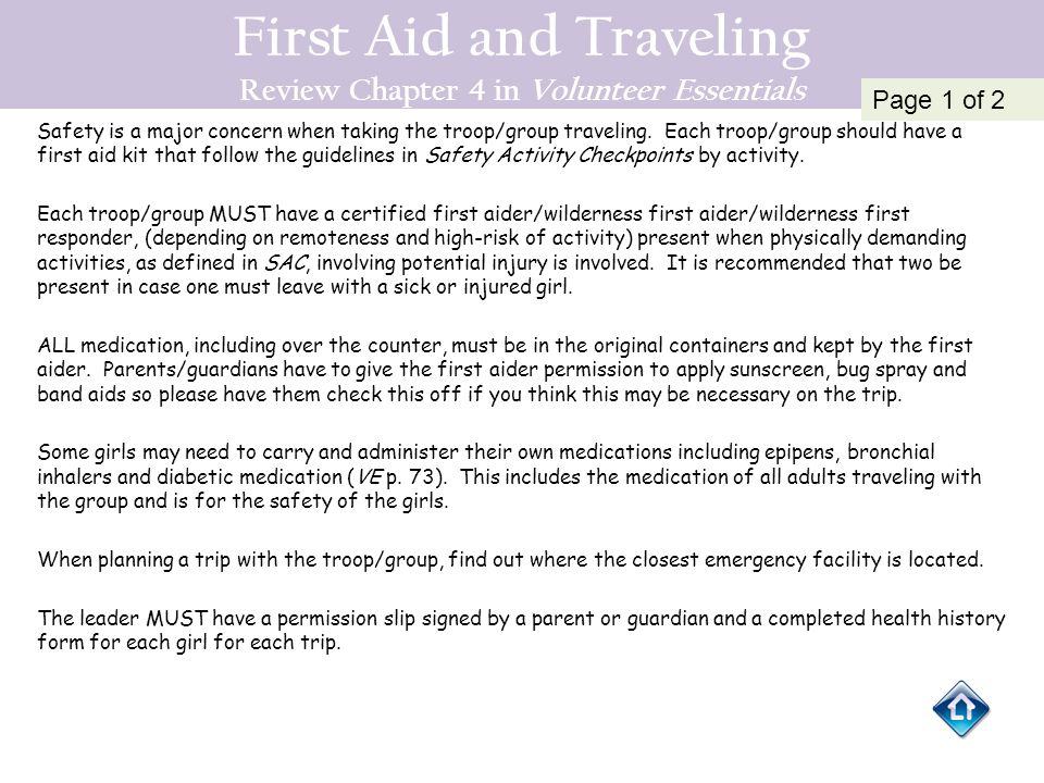 First Aid and Traveling Review Chapter 4 in Volunteer Essentials