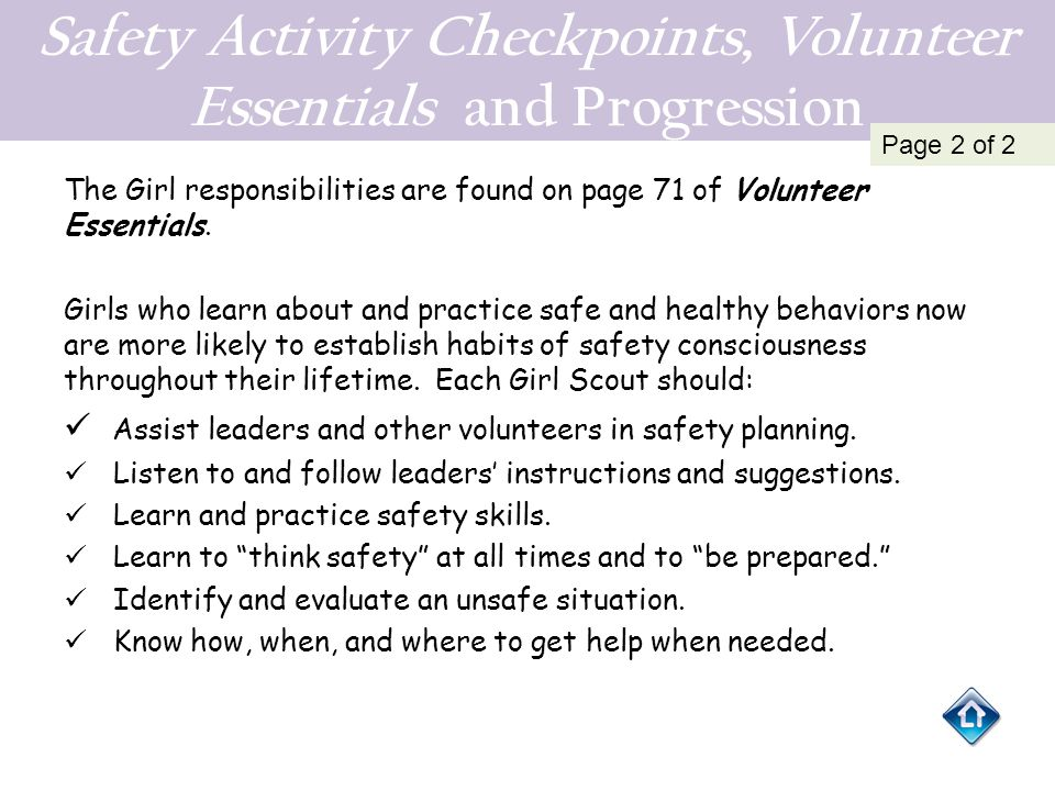 Safety Activity Checkpoints, Volunteer Essentials and Progression