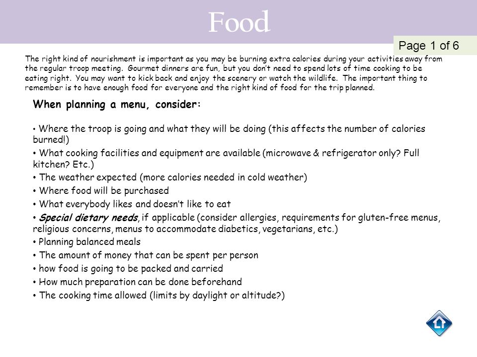 Food Page 1 of 6 When planning a menu, consider: