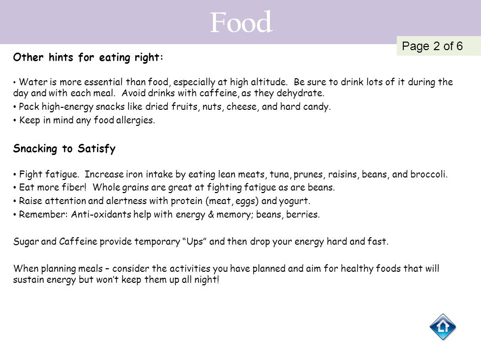 Food Page 2 of 6 Other hints for eating right: Snacking to Satisfy