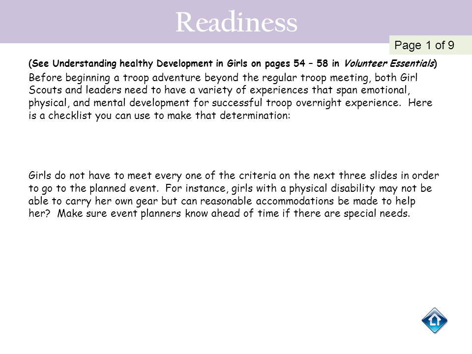 Readiness Page 1 of 9. (See Understanding healthy Development in Girls on pages 54 – 58 in Volunteer Essentials)