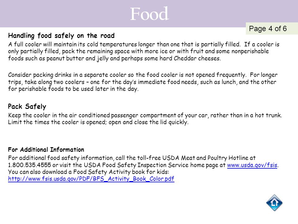 Food Page 4 of 6 Handling food safely on the road Pack Safely