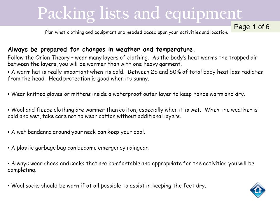 Packing lists and equipment