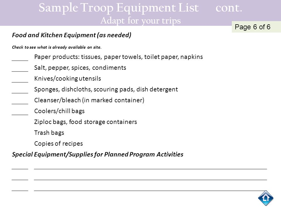 Sample Troop Equipment List cont. Adapt for your trips