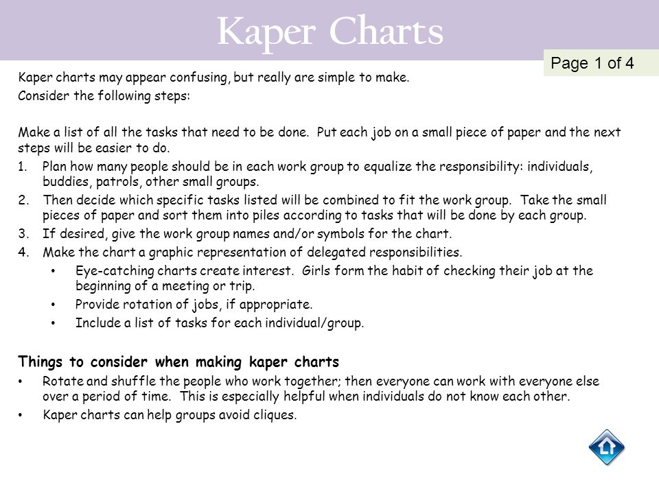 Kaper Charts Page 1 of 4 Things to consider when making kaper charts
