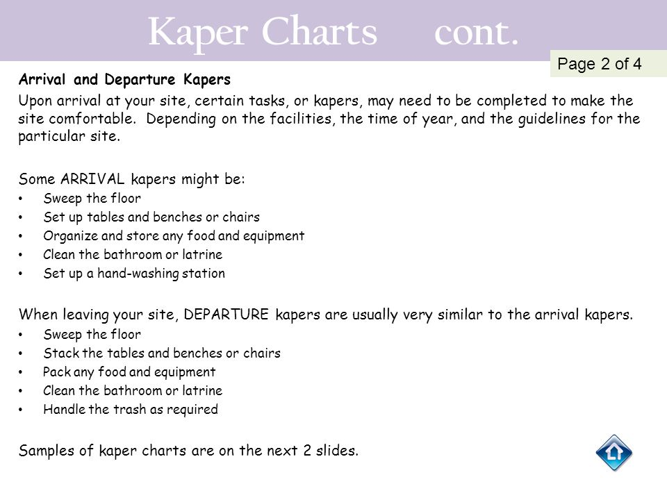 Kaper Charts cont. Page 2 of 4 Arrival and Departure Kapers