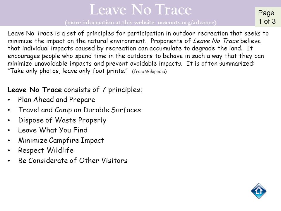 Leave No Trace (more information at this website: usscouts