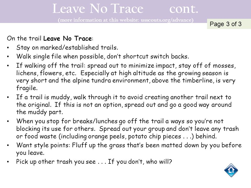 Leave No Trace cont. (more information at this website: usscouts