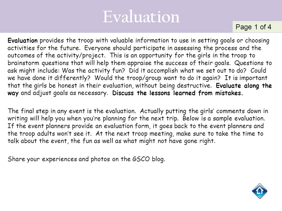 Evaluation Page 1 of 4.