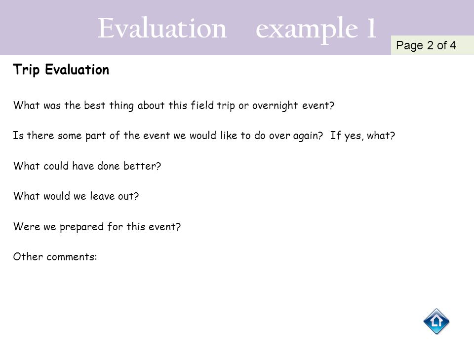Evaluation example 1 Trip Evaluation Page 2 of 4
