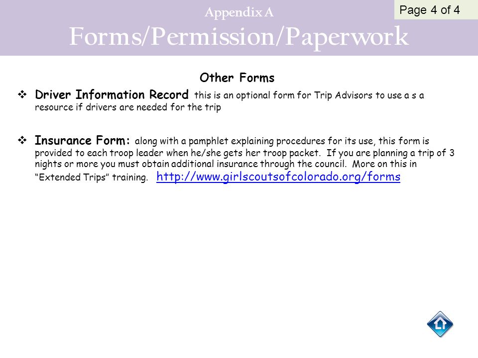 Appendix A Forms/Permission/Paperwork