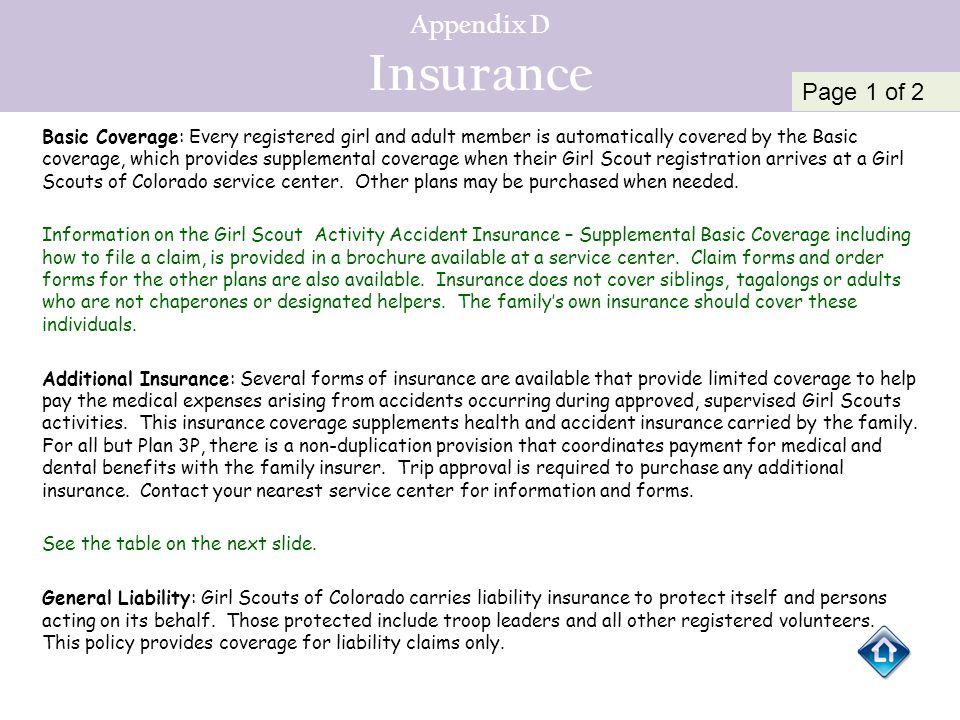 Appendix D Insurance Page 1 of 2