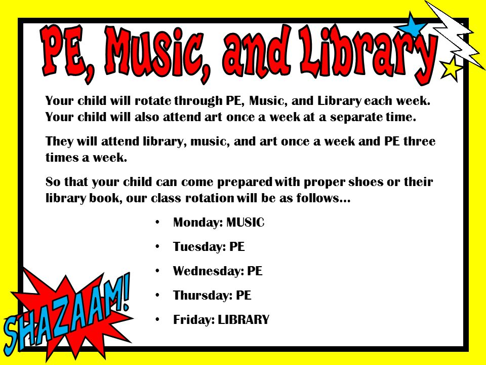 PE, Music, and Library Shazaam!