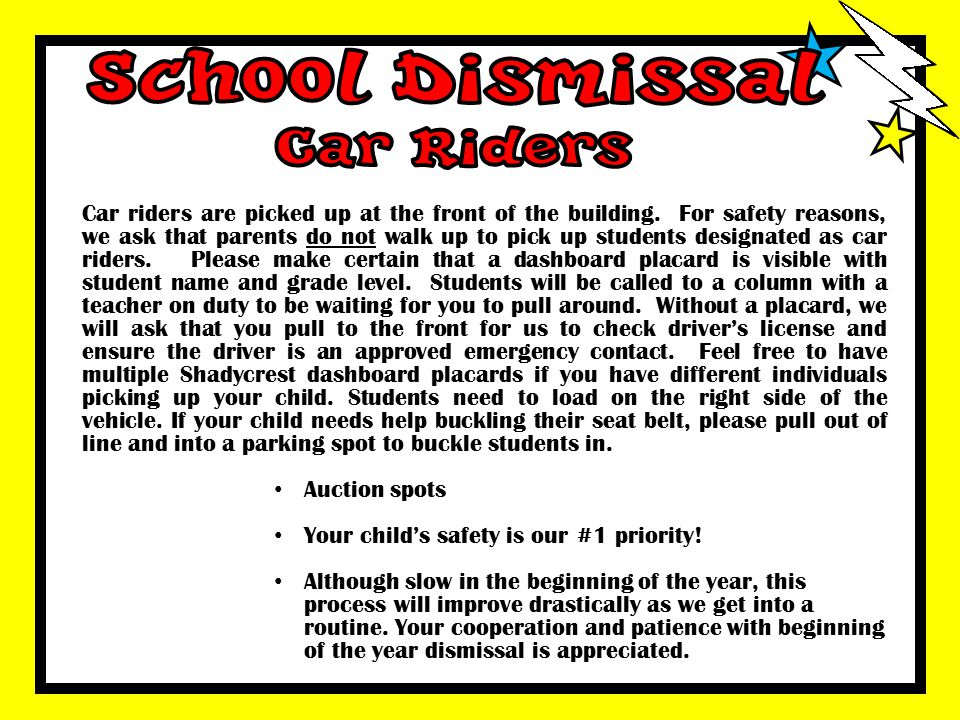 School Dismissal Car Riders