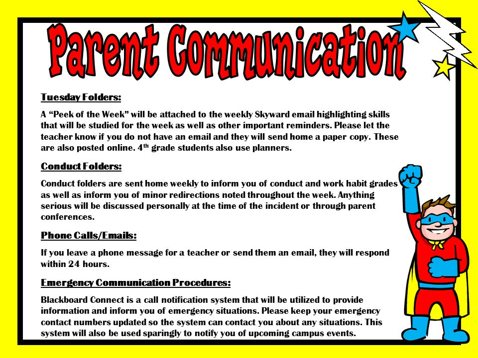 Parent Communication Tuesday Folders: Conduct Folders:
