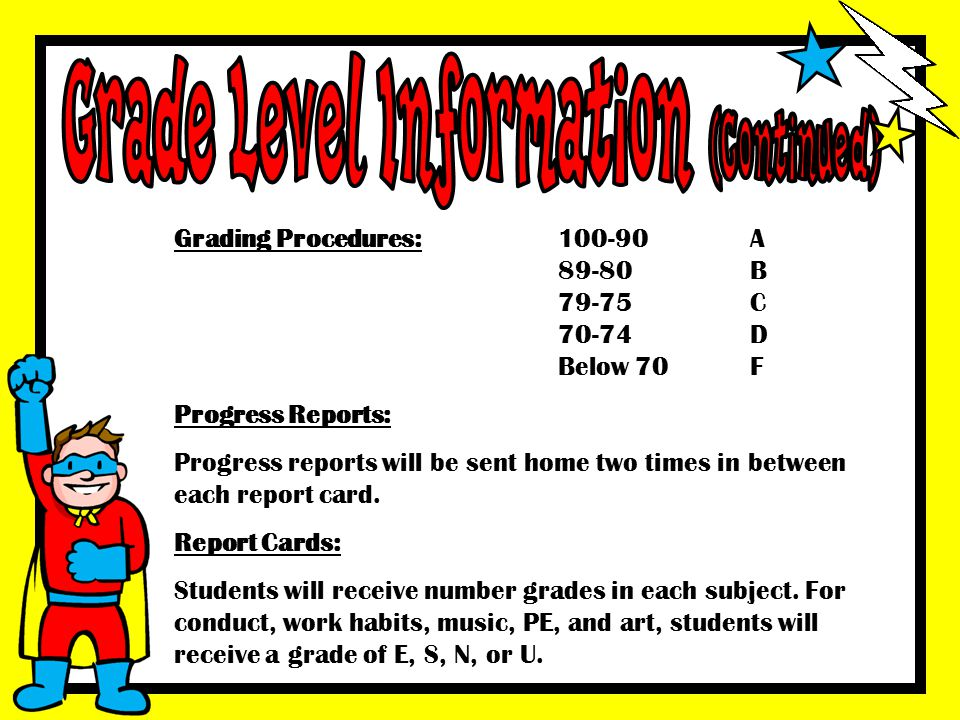Grade Level Information (Continued)