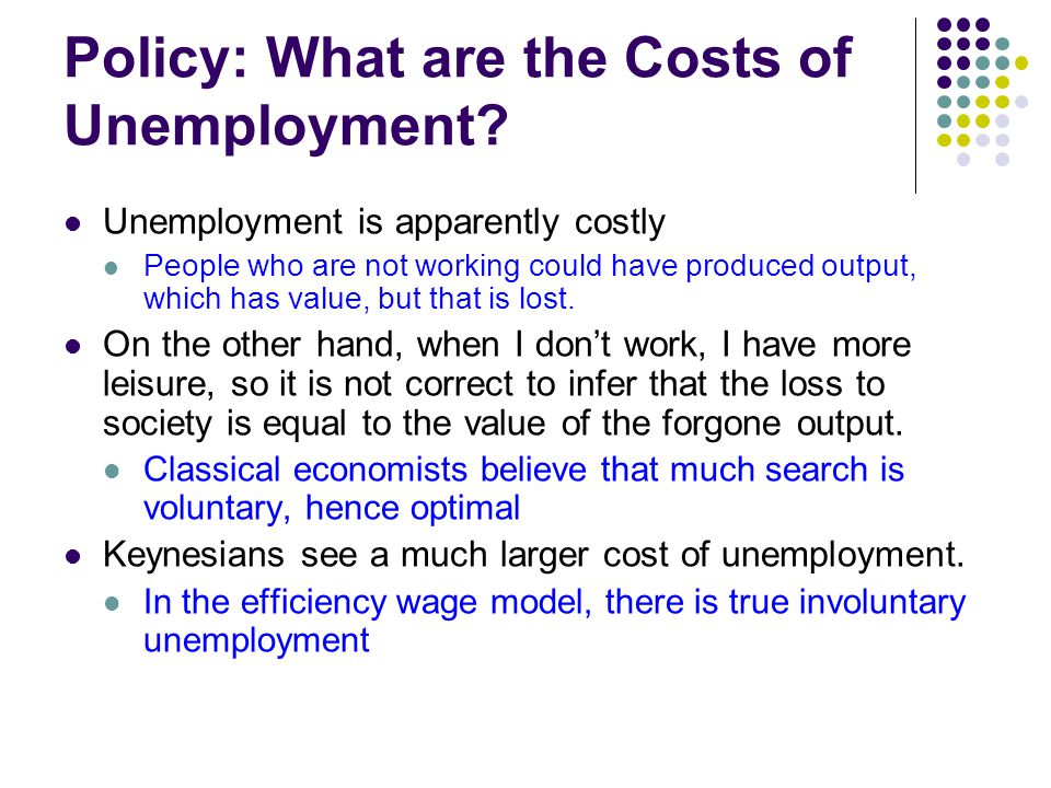 Policy: What are the Costs of Unemployment