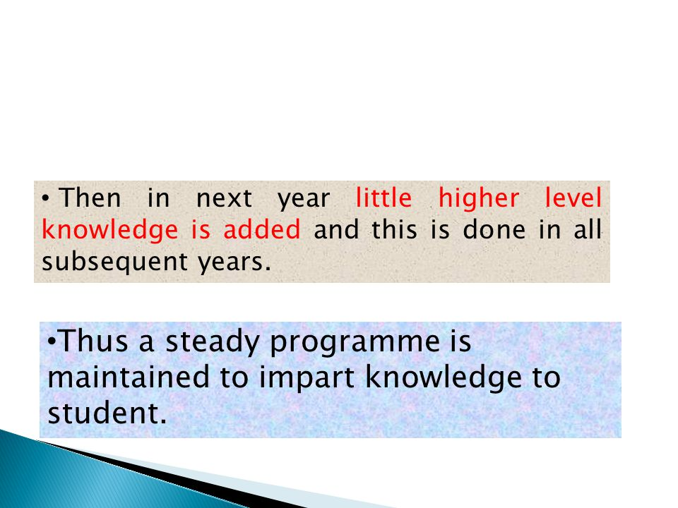 Thus a steady programme is maintained to impart knowledge to student.