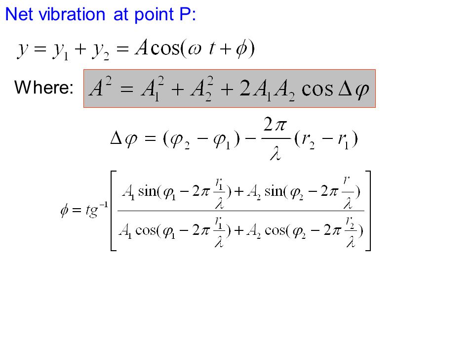 Net vibration at point P: