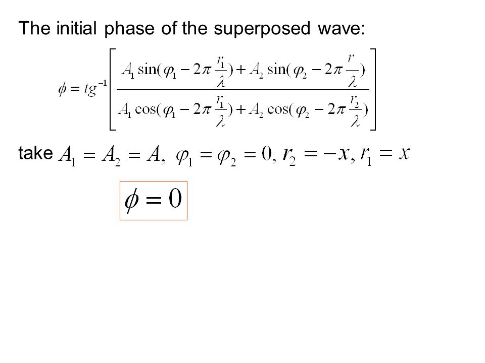 The initial phase of the superposed wave: