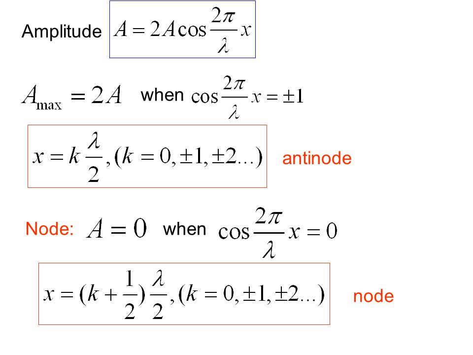 Amplitude when antinode Node: when node