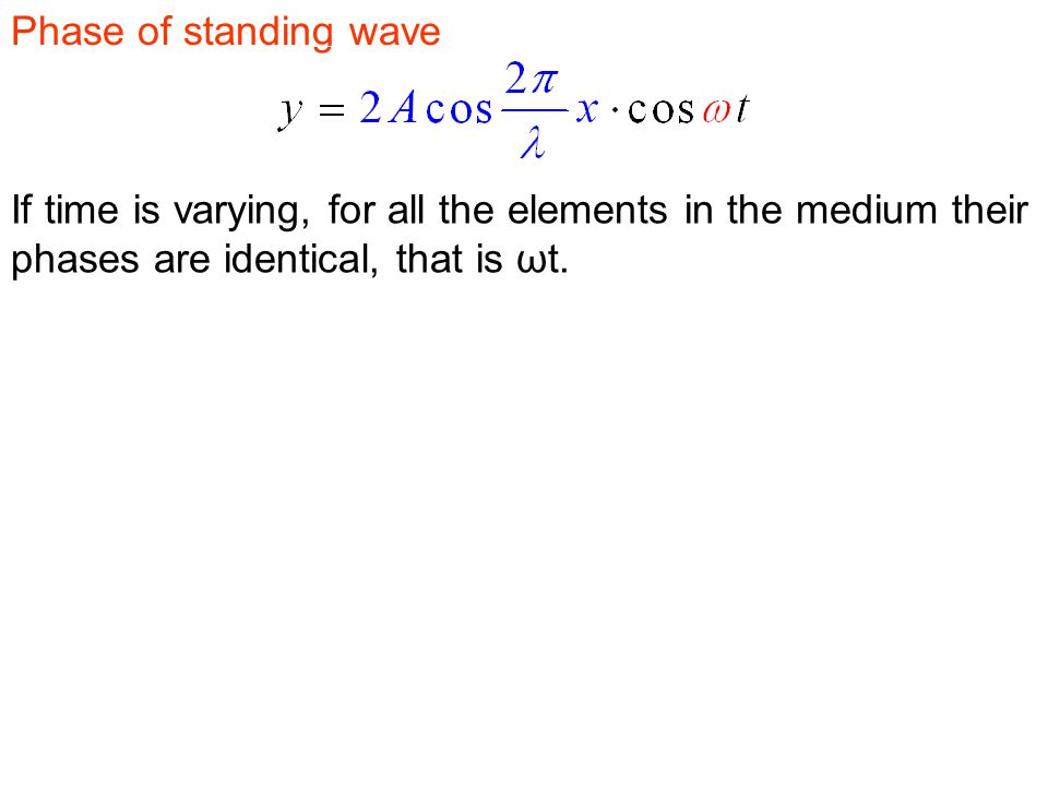 Phase of standing wave If time is varying, for all the elements in the medium their phases are identical, that is ωt.