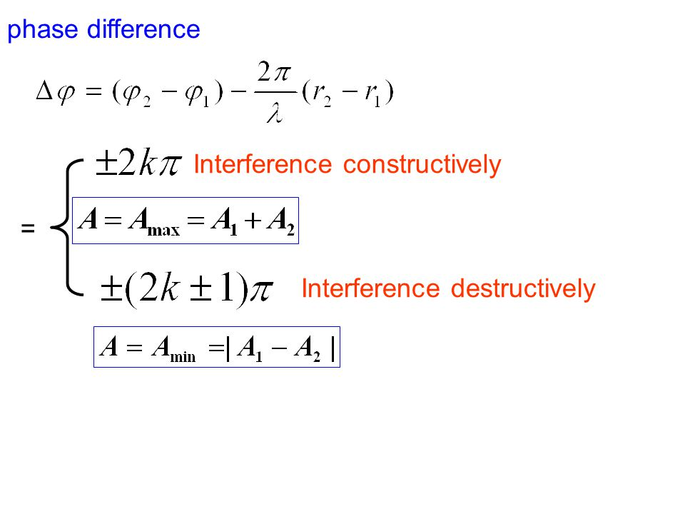 phase difference Interference constructively = Interference destructively
