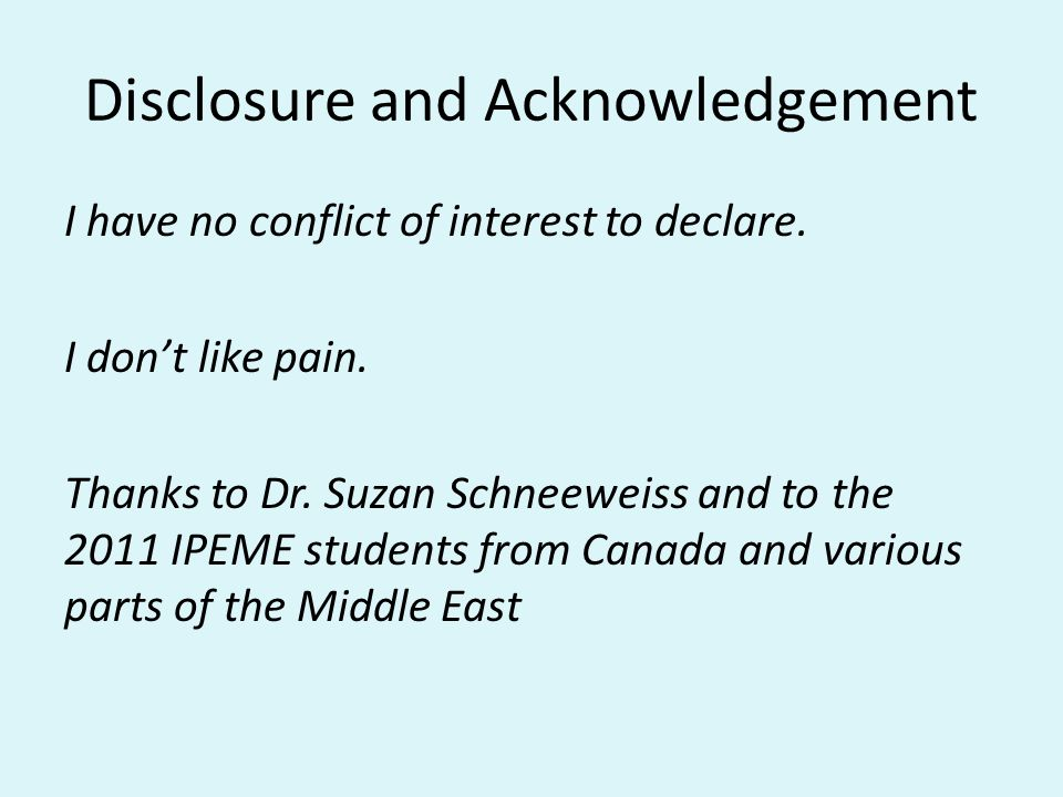 Disclosure and Acknowledgement