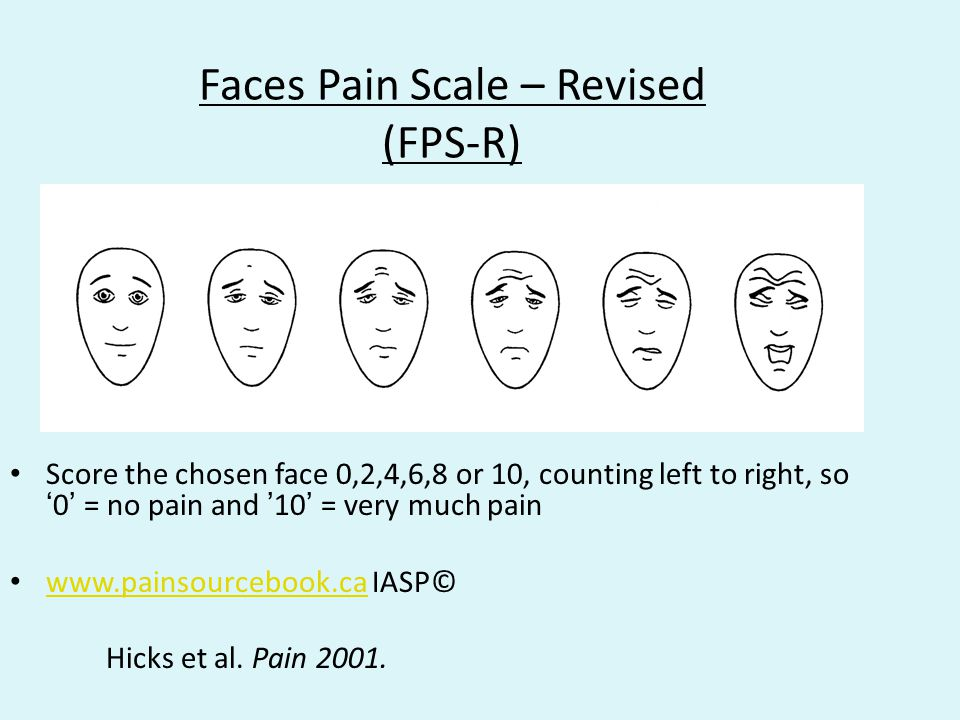 Faces Pain Scale – Revised (FPS-R)