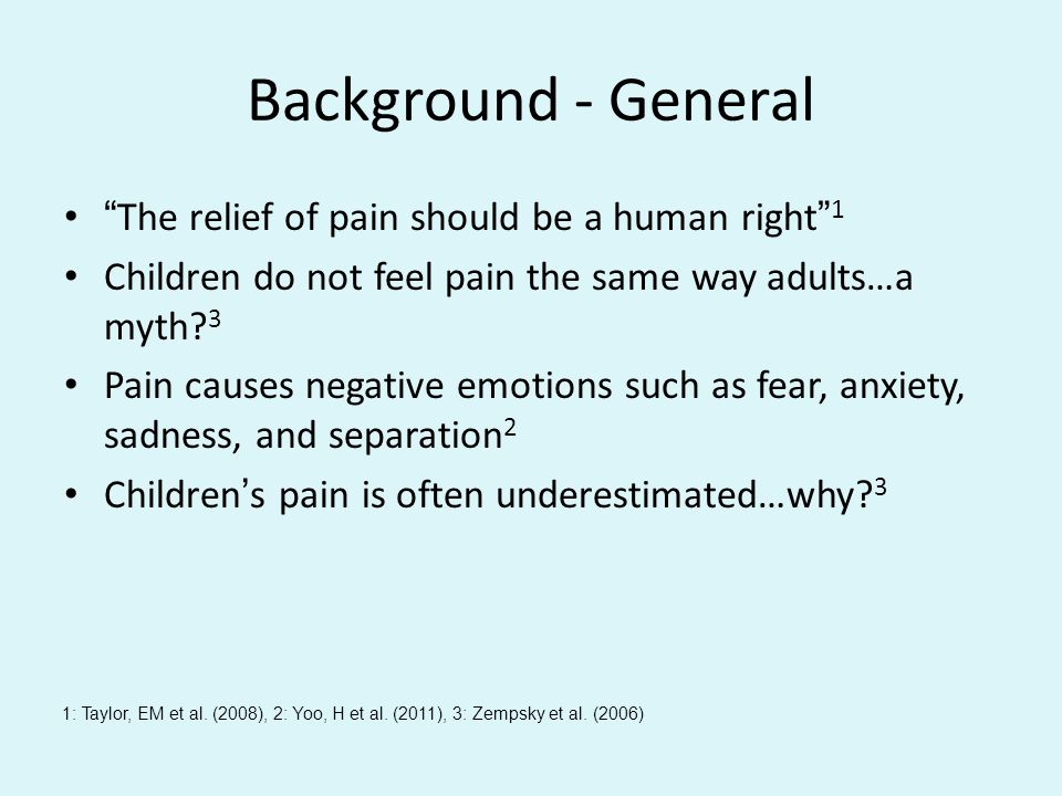 Background - General The relief of pain should be a human right 1