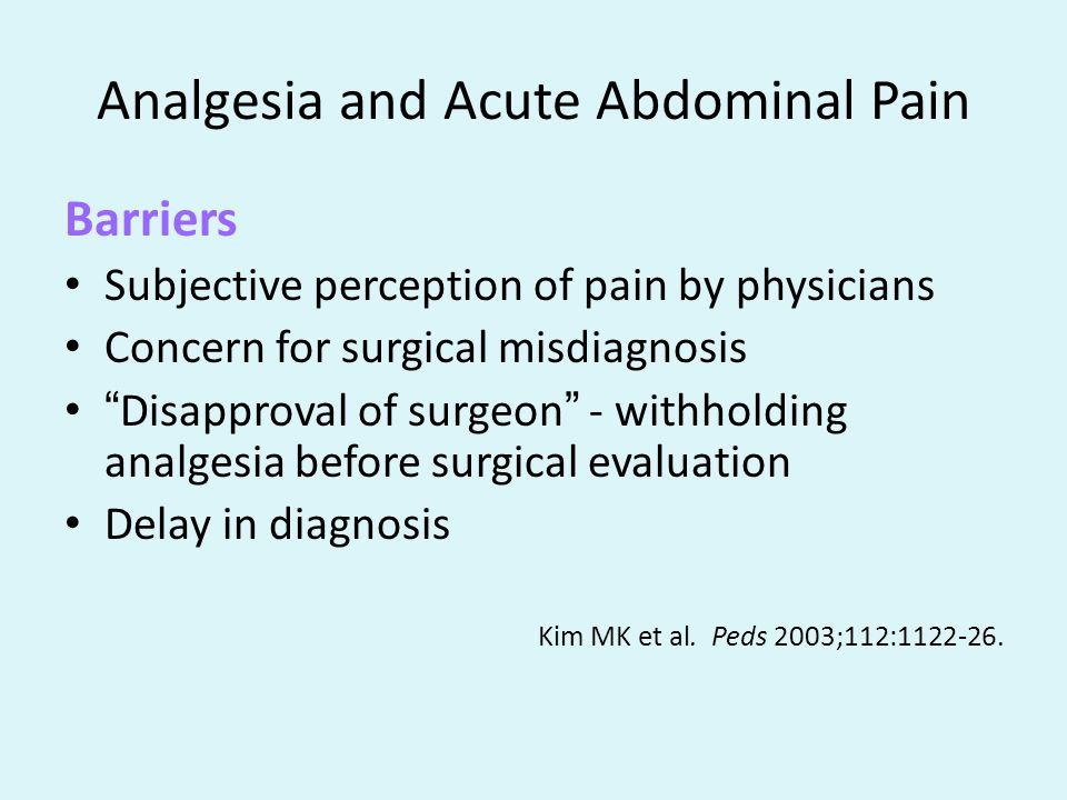 Analgesia and Acute Abdominal Pain