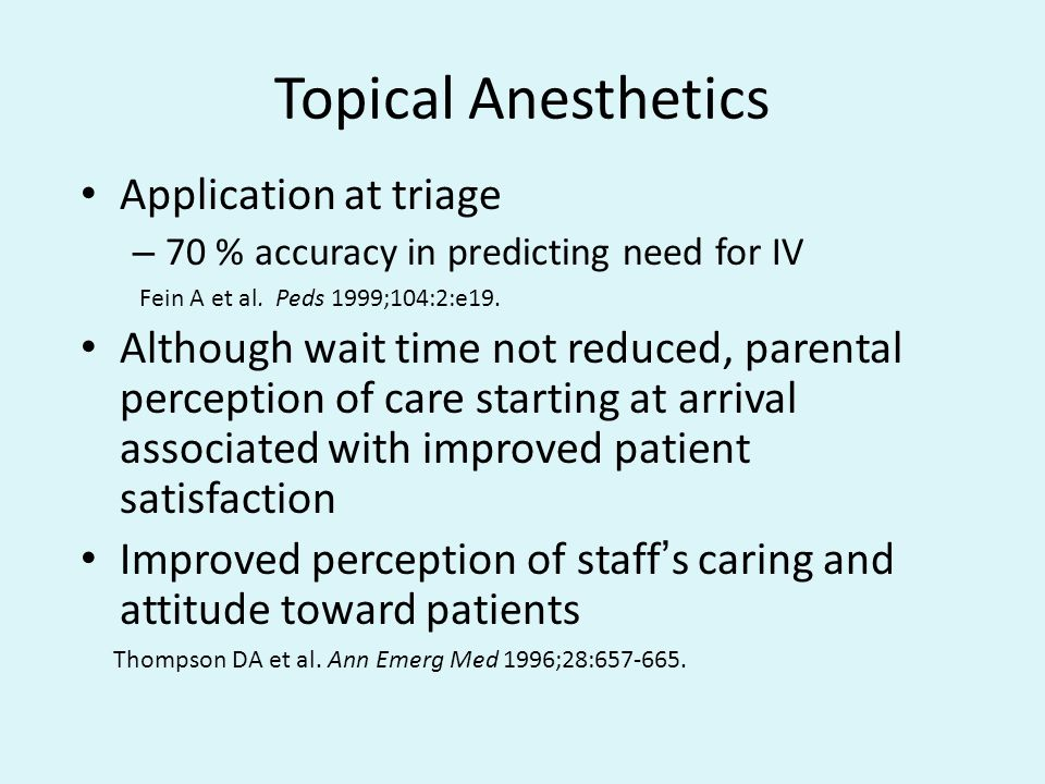 Topical Anesthetics Application at triage
