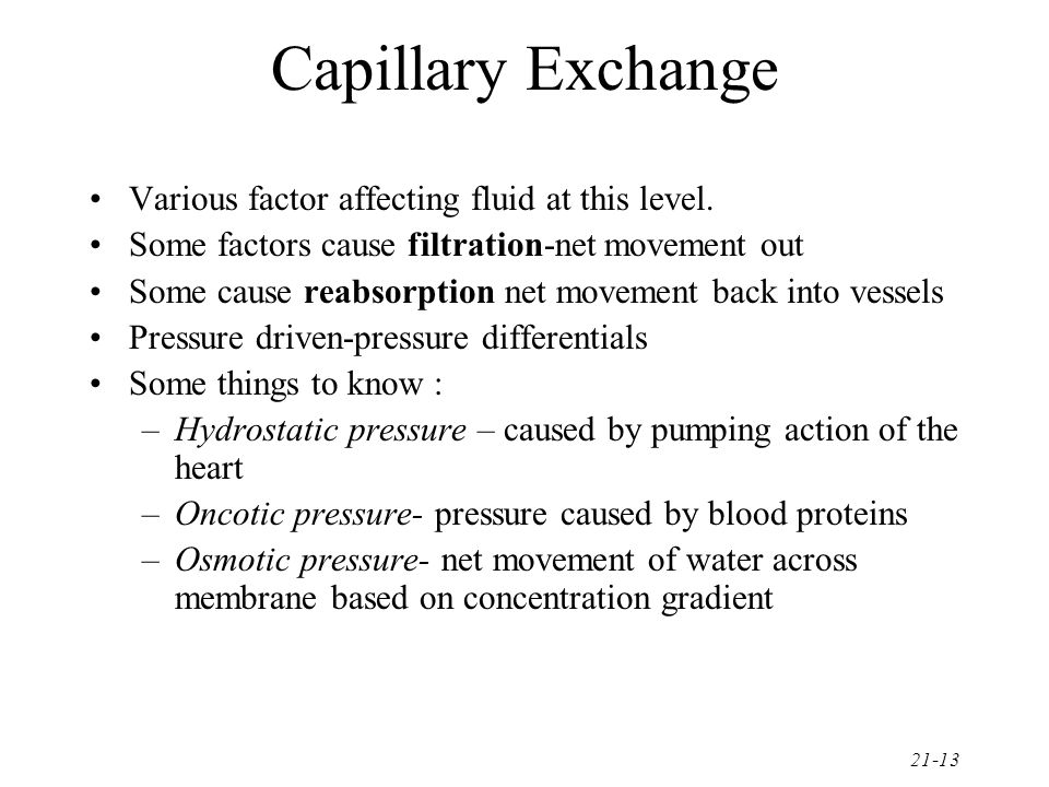 Capillary Exchange Various factor affecting fluid at this level.
