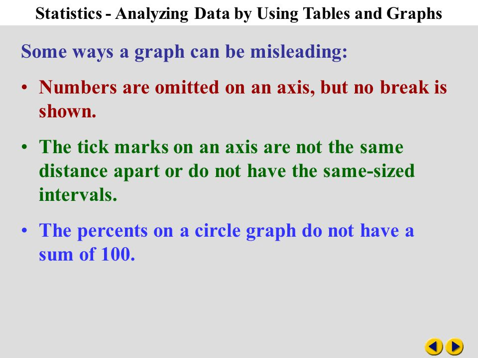 Algebra 1-9 Statistics - Analyzing Data by Using Tables and Graphs