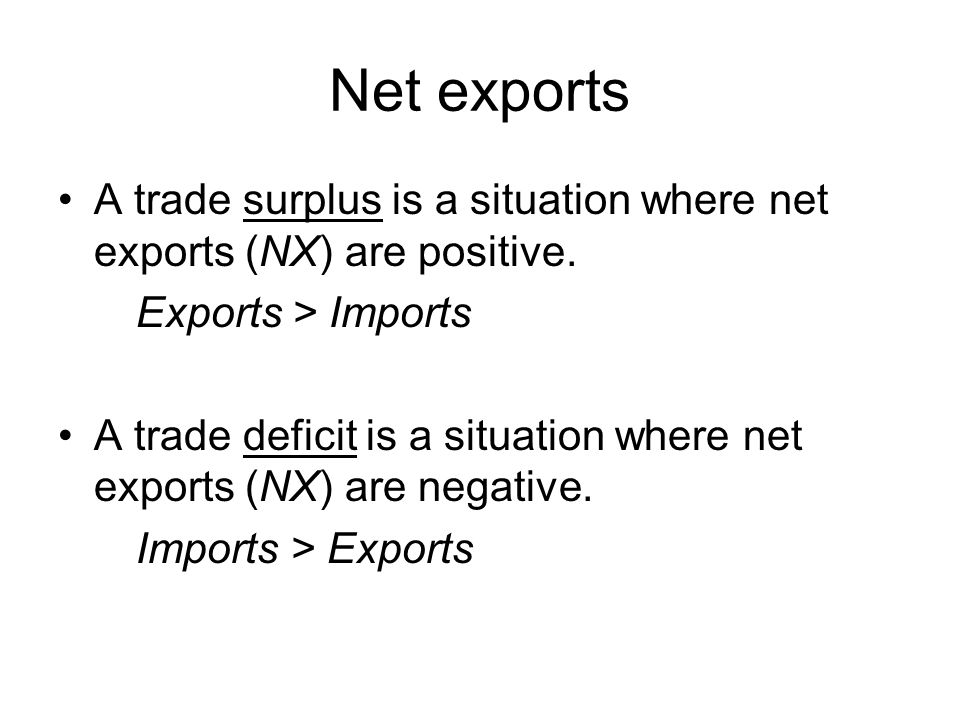 Net exports A trade surplus is a situation where net exports (NX) are positive. Exports > Imports.