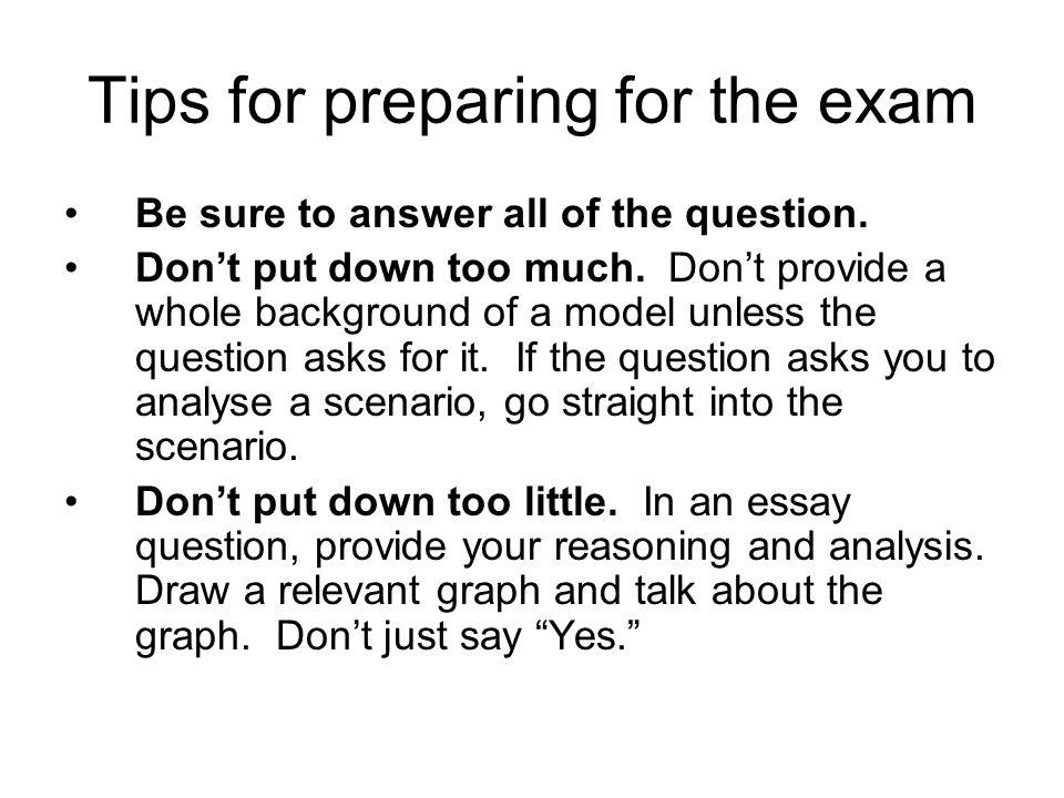 Tips for preparing for the exam