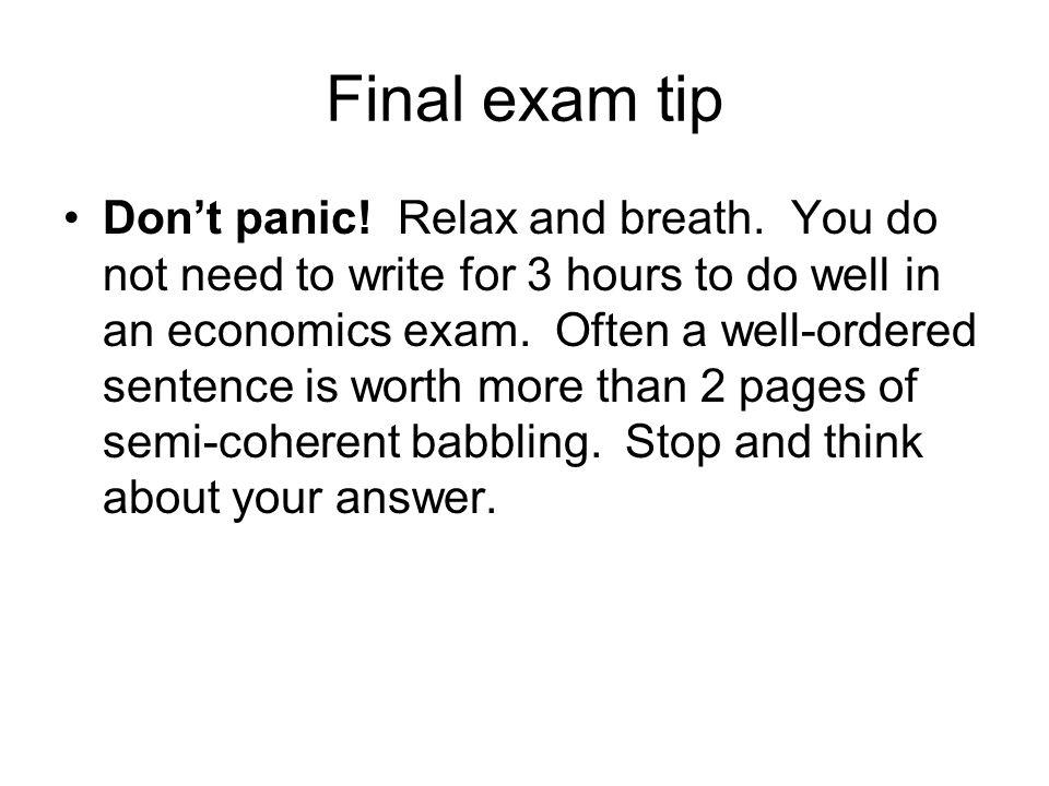 Final exam tip