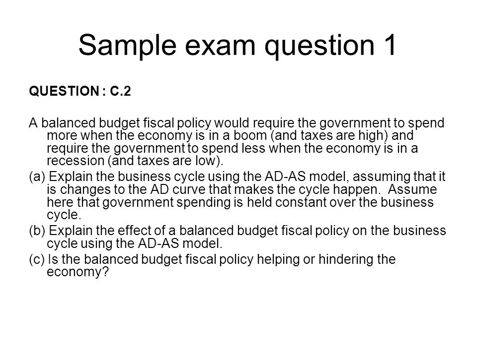 Sample exam question 1 QUESTION : C.2