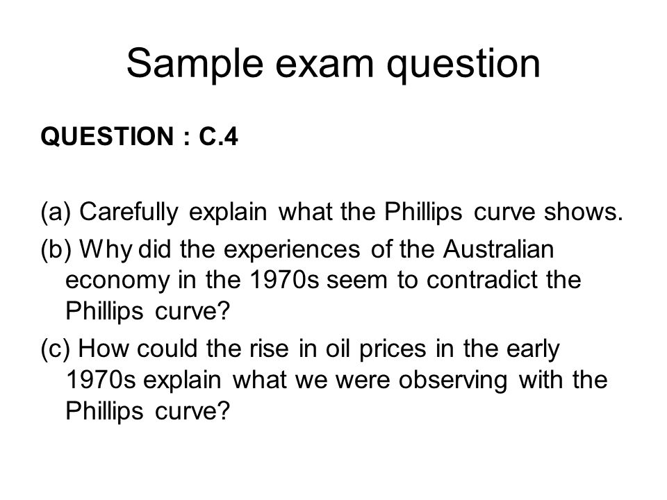 Sample exam question QUESTION : C.4
