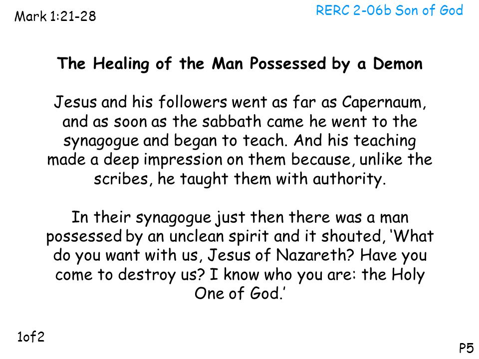 The Healing of the Man Possessed by a Demon