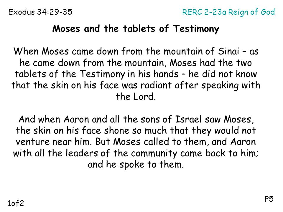 Moses and the tablets of Testimony