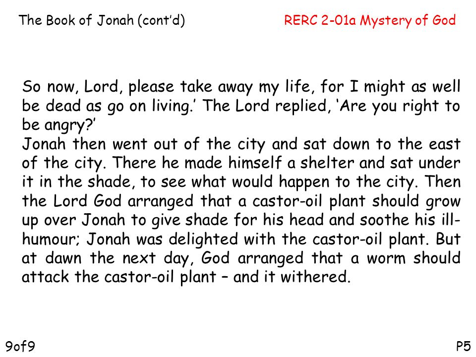 The Book of Jonah (cont'd)