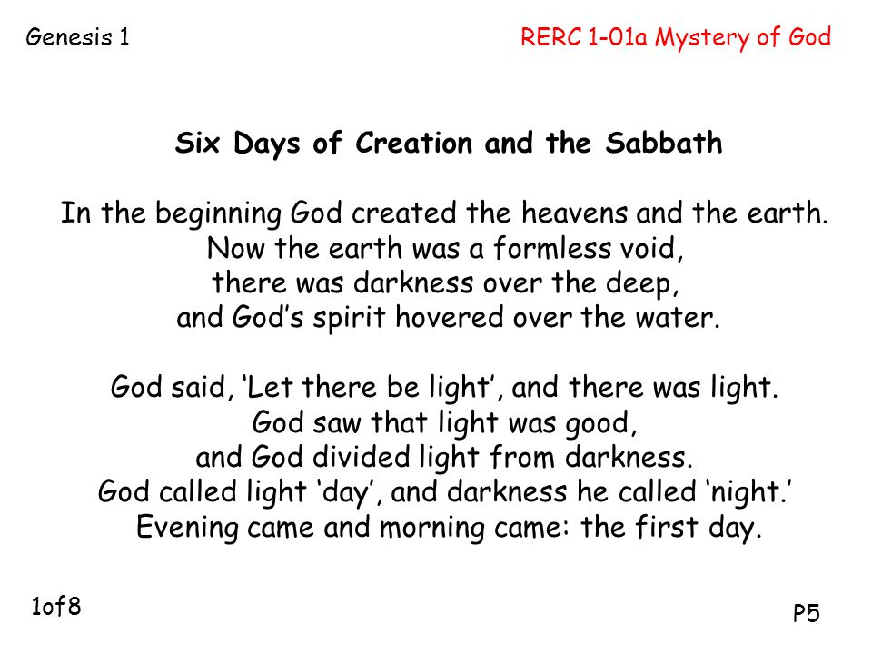 Six Days of Creation and the Sabbath