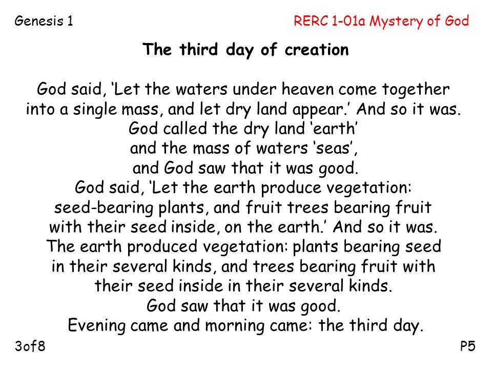 The third day of creation