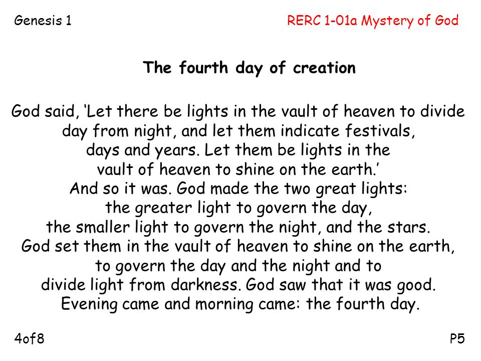 The fourth day of creation
