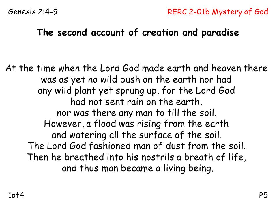 The second account of creation and paradise