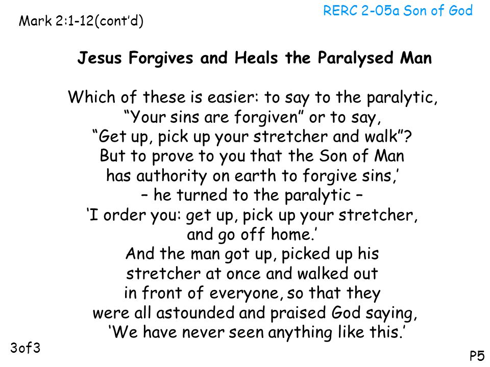 Jesus Forgives and Heals the Paralysed Man