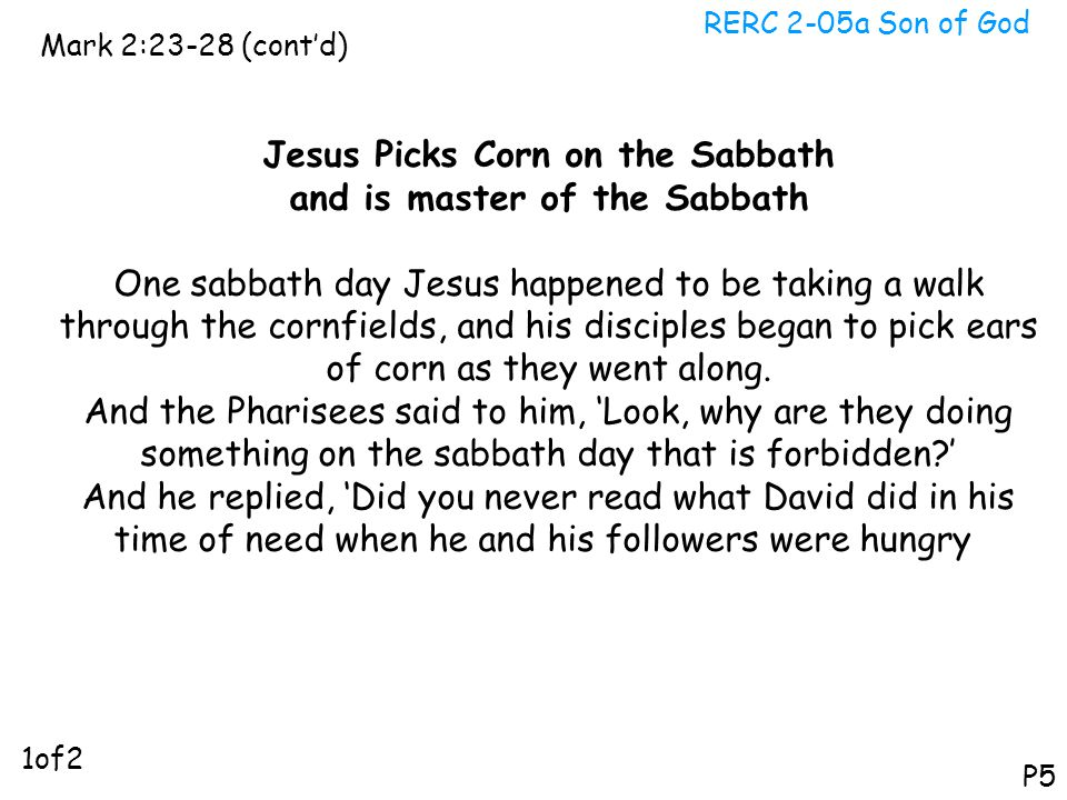 Jesus Picks Corn on the Sabbath and is master of the Sabbath