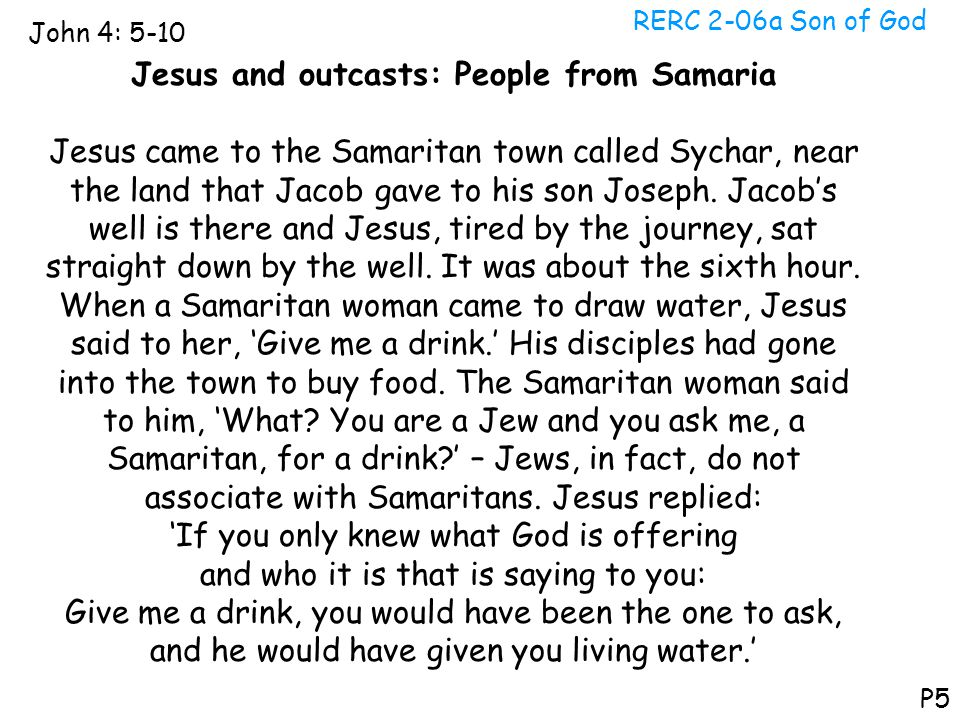 Jesus and outcasts: People from Samaria